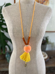 Pompom Tassel Necklace - Yellow Coral