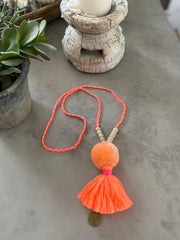 Pompom Tassel Necklace - Coral with Pink