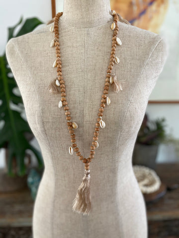 Wooden Bead Tassel with shells - Natural