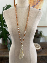 Wooden Bead Tassel Necklace with Pearls - Natural