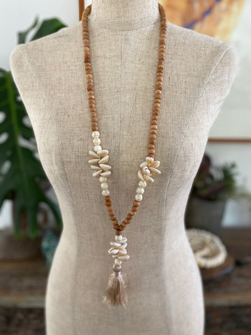 Wooden Bead Tassel Necklace with Shells - Natural