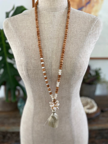 Wooden Bead Tassel Necklace with Shells and Pearls - Natural
