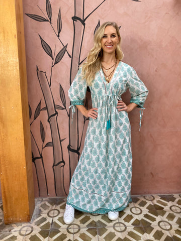 Boho Maxi Dress- Mint Paisley