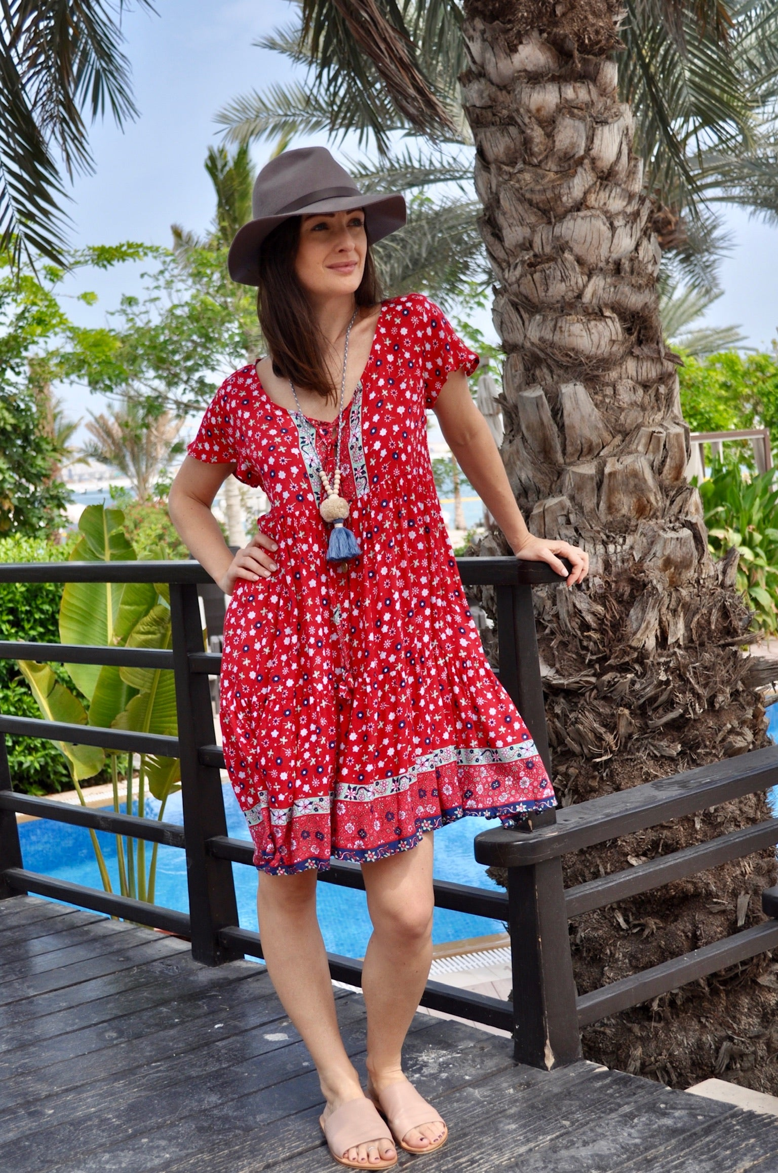 Baby Doll Dress - Red Flower