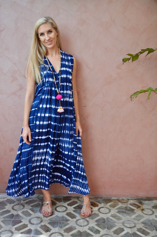 Bella Dress - Navy Tie Dye