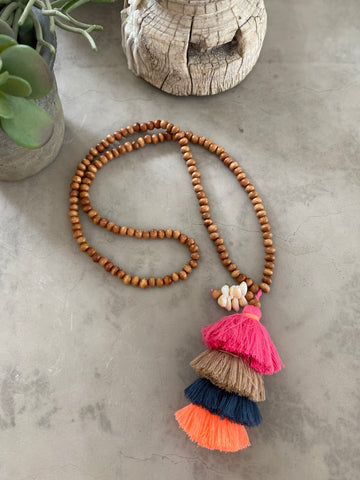 Multi Coloured Tassel Necklace - Pink and Grey