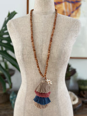 Multi Coloured Tassel Necklace - Neutral