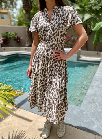 Jess Dress - Brown Leopard