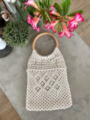 Macrame Bag with Bamboo Handle - Cream
