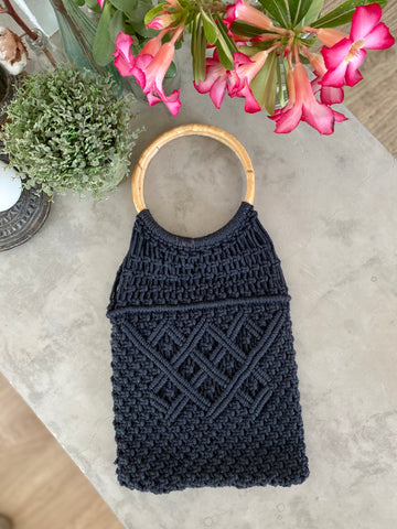 Macrame Bag with Bamboo Handle - Black