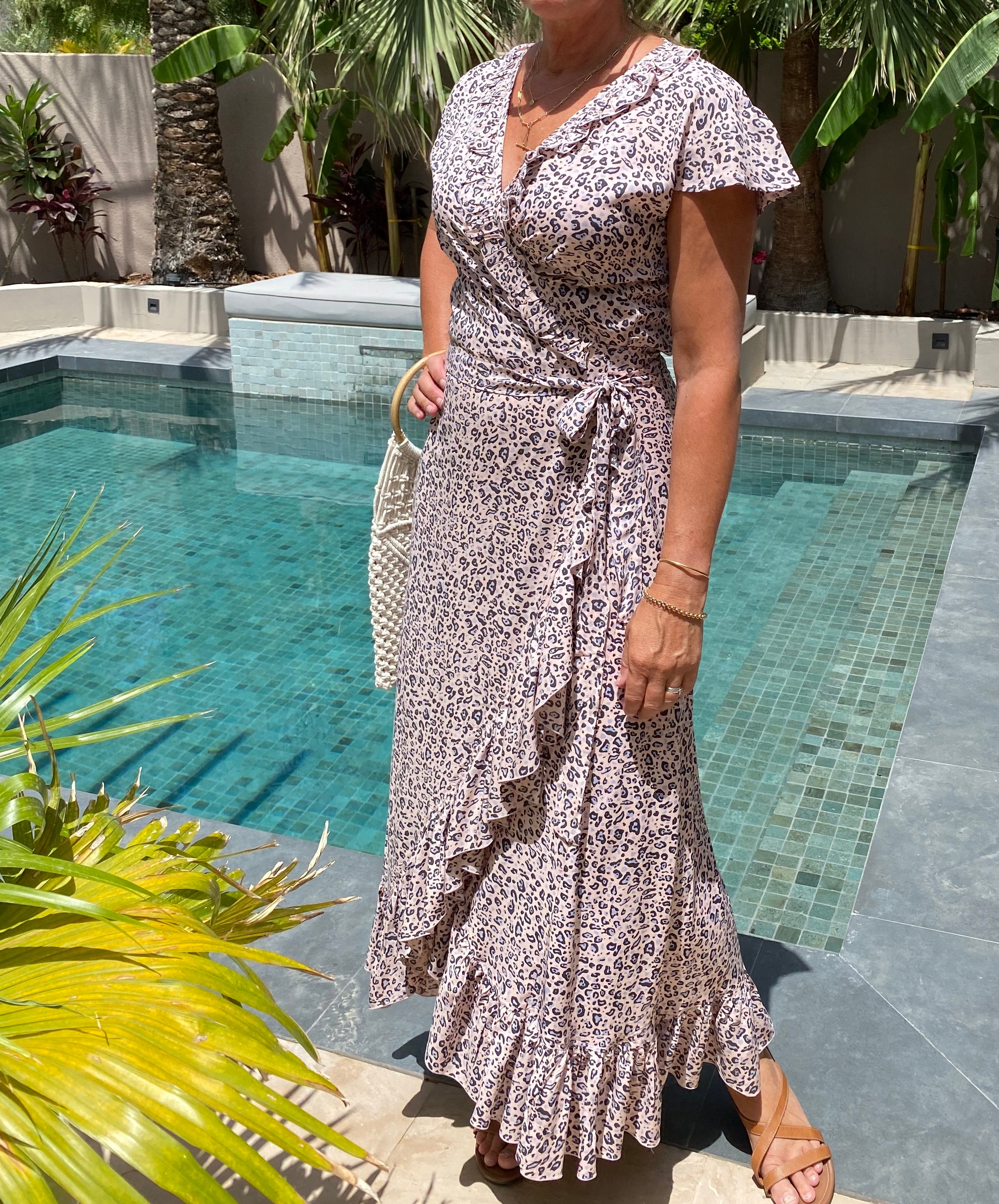 Maxi Wrap Dress - Soft Pink Leopard
