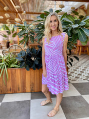 Indi Dress - Lilac Zigzag