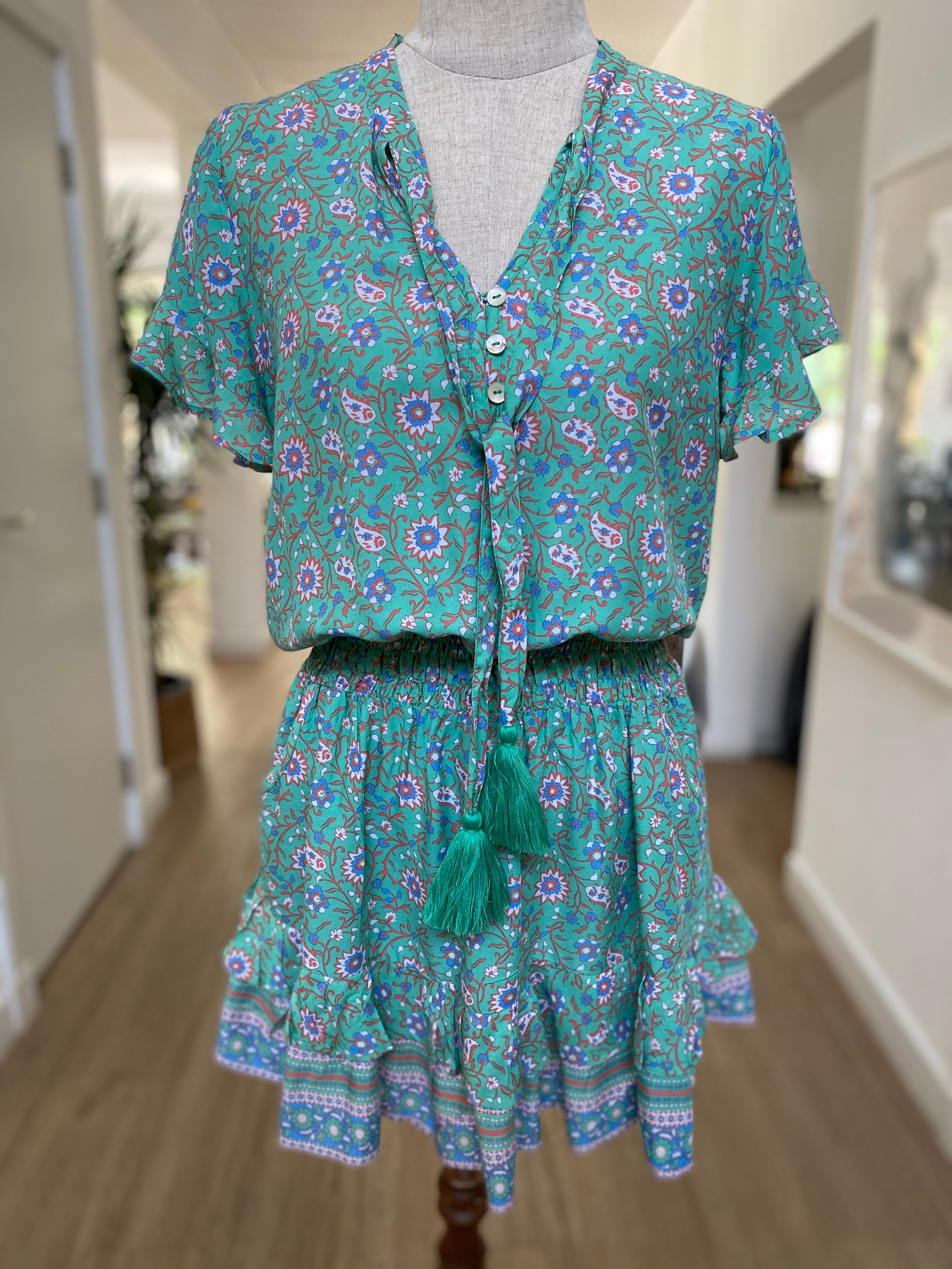 Izzy Dress - Mint Green Flower