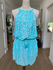 Short Susan Dress - Mint Flower