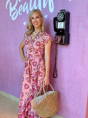 Maxi Wrap Dress - Fuchsia Floral