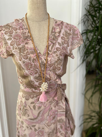 Maxi Wrap Dress - Dusty Pink Stork