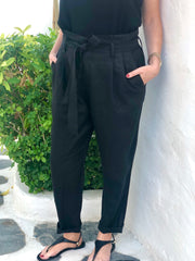 Linen Trousers - Black,  White