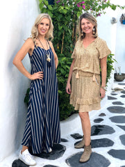 Monica Maxi Dress - Navy and Tan