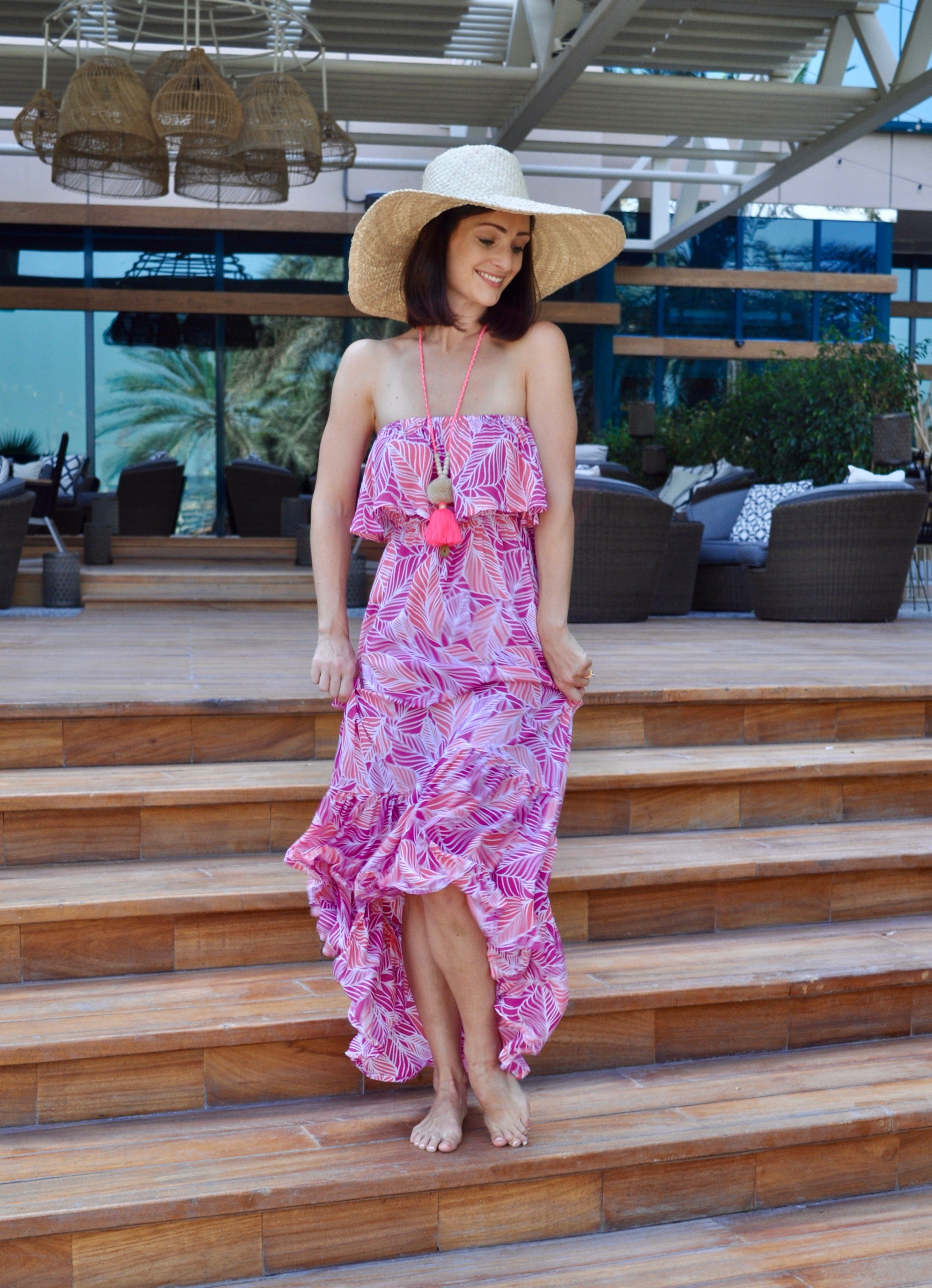 Roxy Dress - Pink Leaf