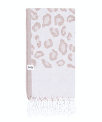Leopard Print Turkish Towel - Taupe