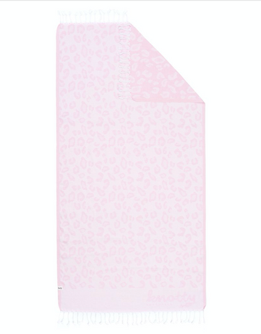 Leopard Print Turkish Towel - Powder Pink