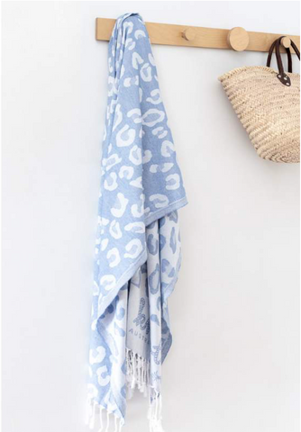 Leopard Print Turkish Towel - Denim