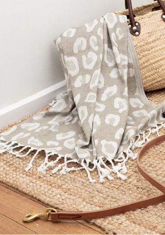Leopard Print Turkish Towel - Khaki