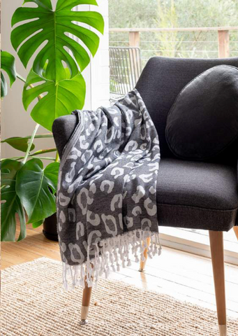 Leopard Print Turkish Towel - Charcoal