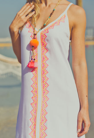 Embroidered Maxi Slip Dress - White with Pink
