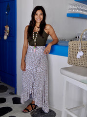 Wrap Skirt - Soft Grey Leopard