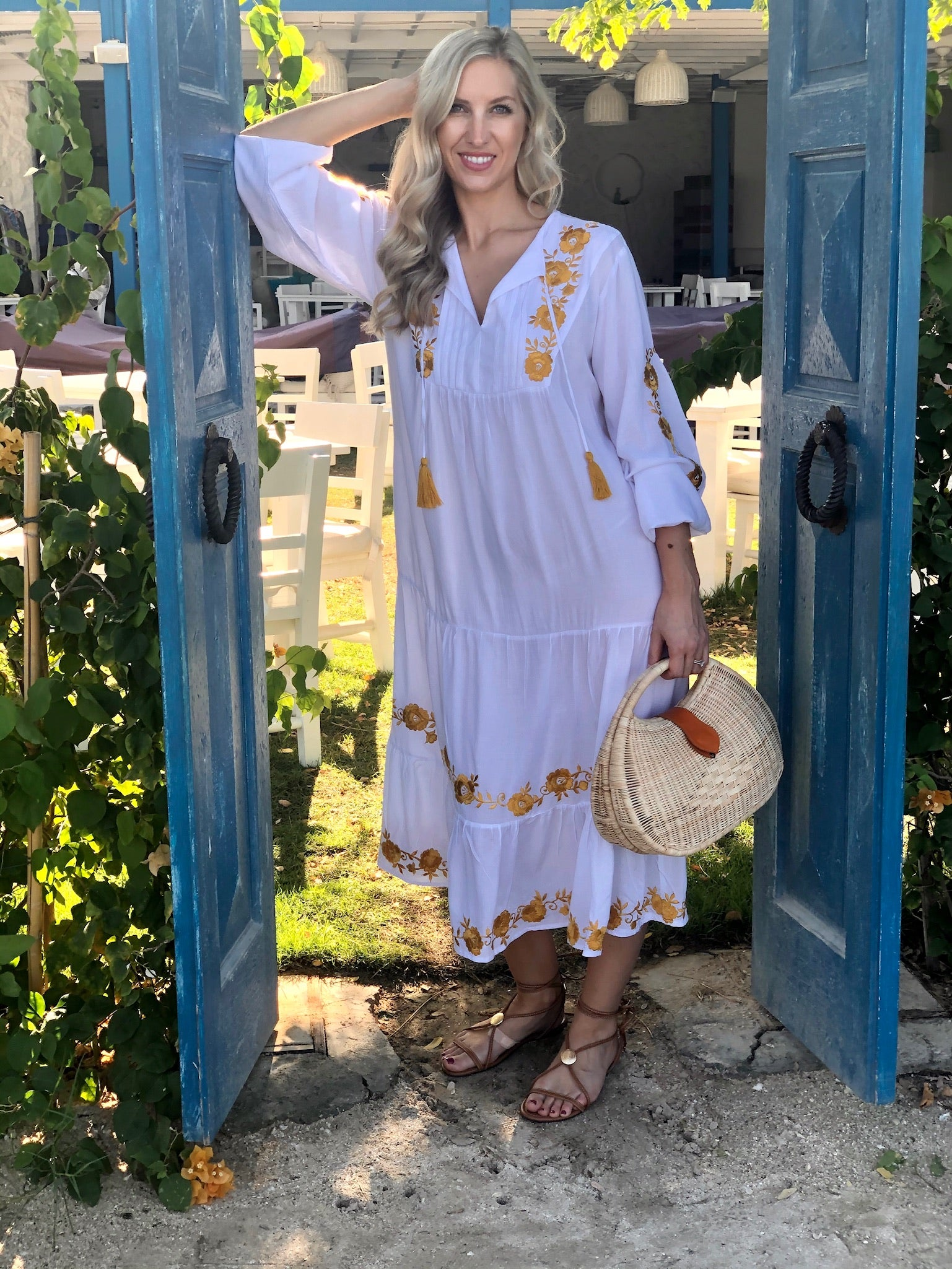Zoe Dress Long - White with Mustard Flowers