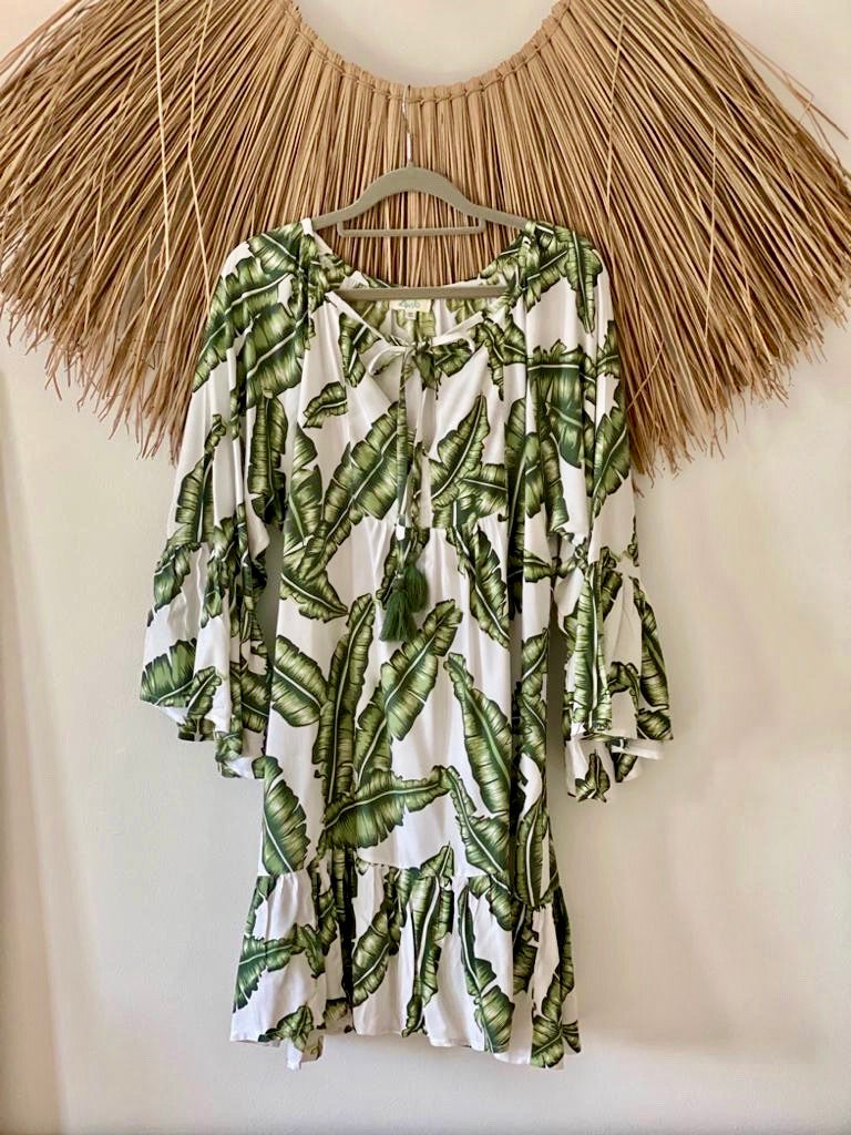 Christmas Tree Dress - Khaki Green Palm