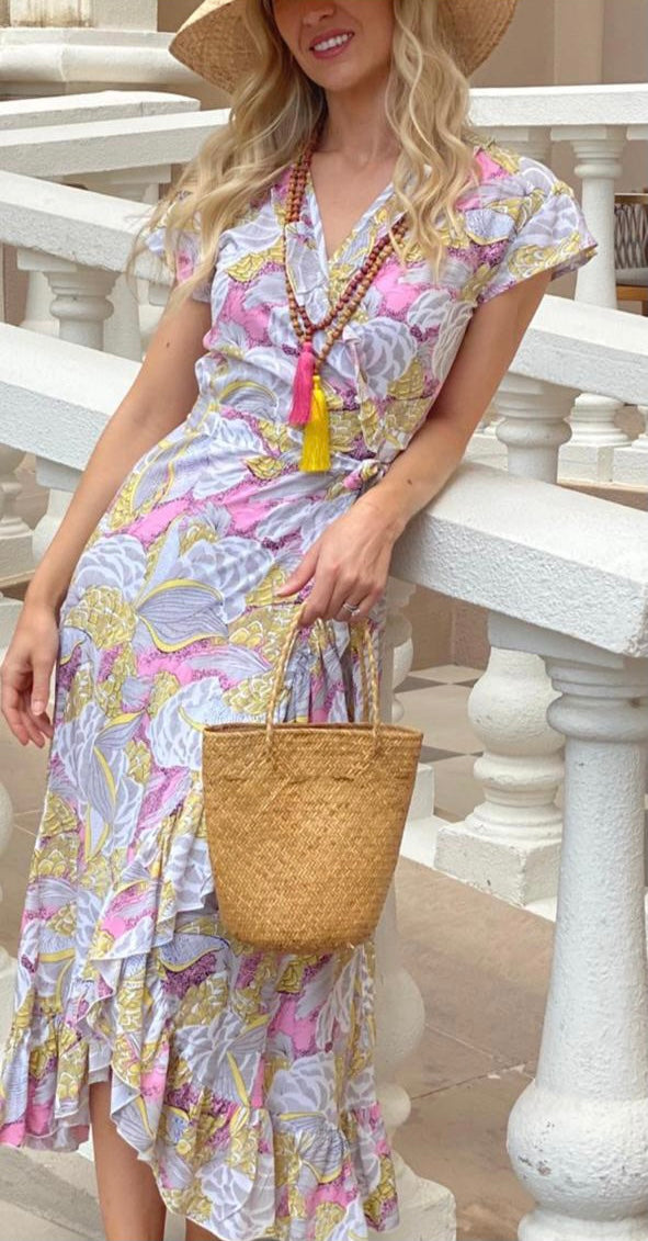 Maxi Wrap Dress - Pink & Yellow