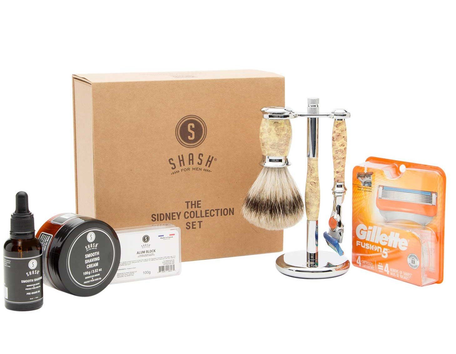 Sidney Collection Fusion Razor and Brush Set Yellow