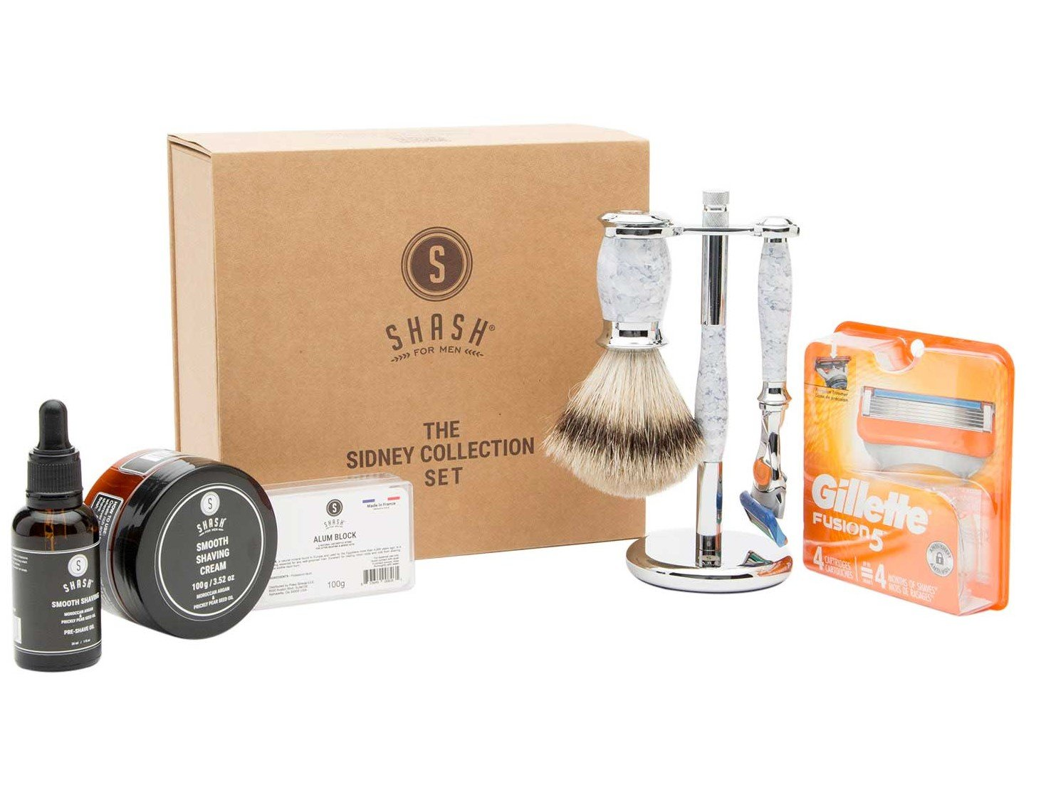 Sidney Collection Fusion Razor and Brush Set White
