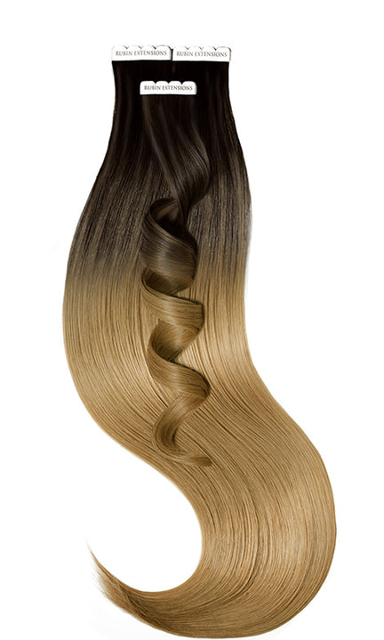 Extensions Adhésives - Tape-in Extensions Sombre-Balayages Brun-Noir & Brun Clair Caramel