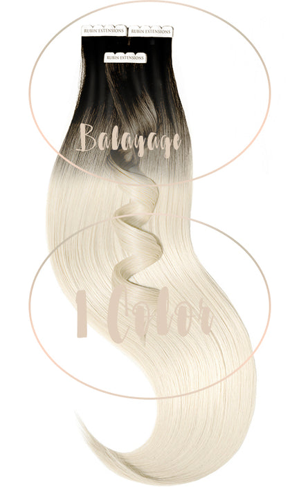 Extensions Adhésives - Tape-in Extensions Sombre-Balayages - Brun-Noir & Blond Platine