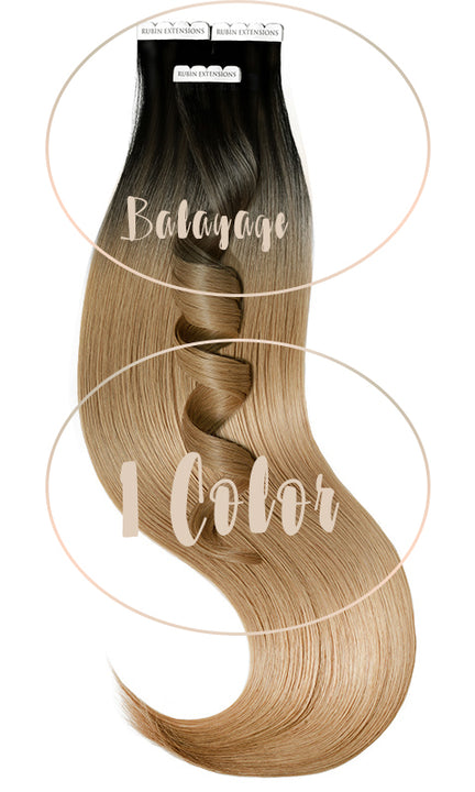 Extensions Adhésives - Tape-in Extensions Sombre-Balayages - Noir & Brun Clair Caramel