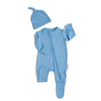 Baby Blue Newborn Footed Zipper