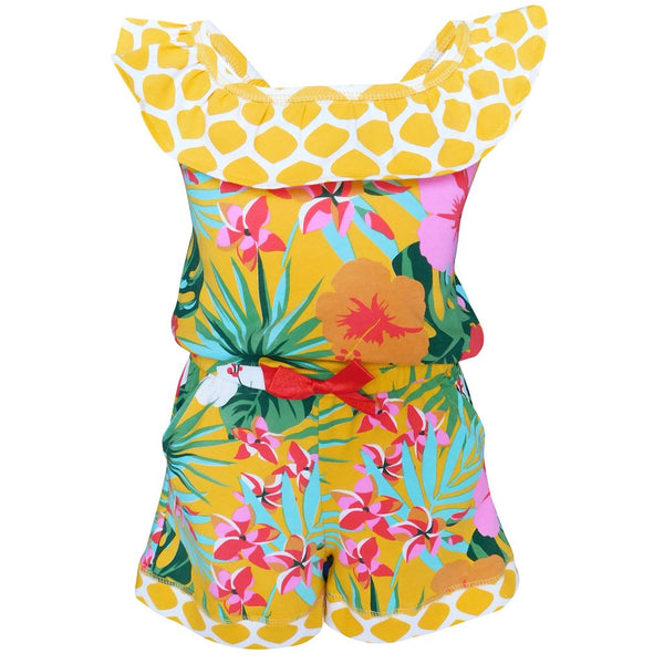 Hawaiian Hibiscus Floral Tropical Shorts Jumpsuit