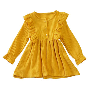 Mustard Linen Ruffle Dress