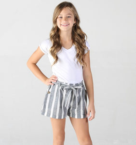 Grey Stripe Paper Bag Shorts
