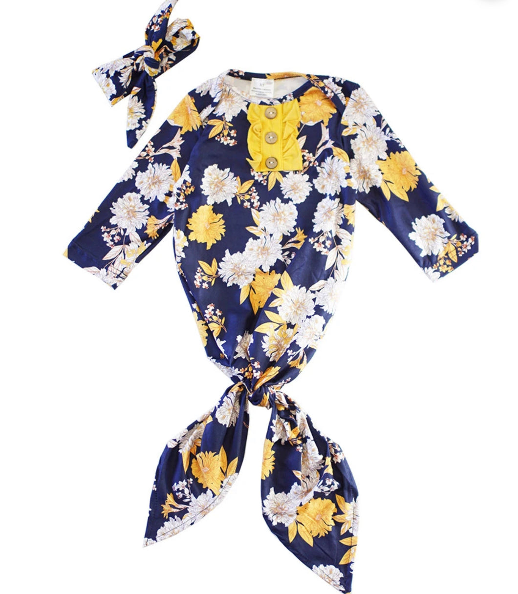 Navy & Mustard Floral Baby Gown w/ Headband