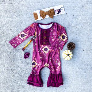 Maroon Sunflower Romper