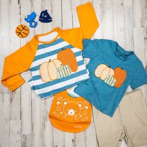 Triple Pumpkin Tee w/ Stripes