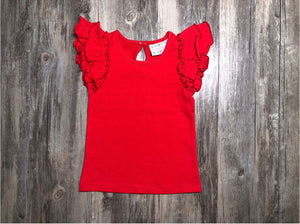 Red Essential Flutter Top