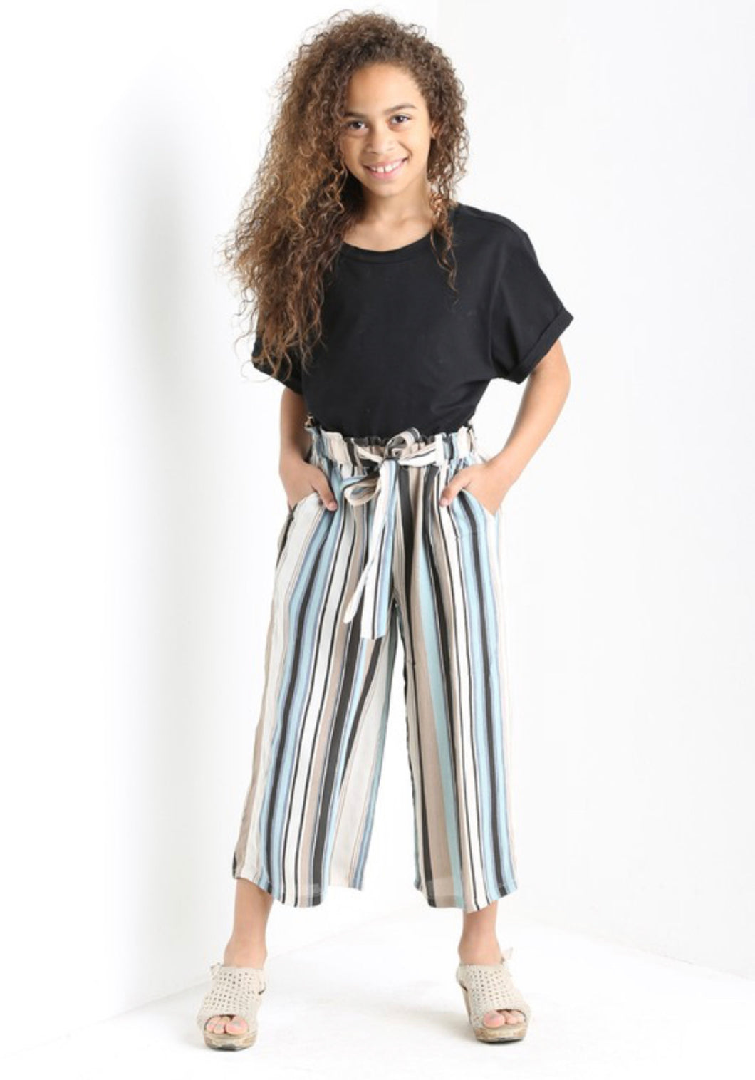 Striped Crop Pants with Tie Waist