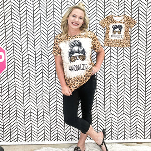 MOM LIFE - KID LIFE Leopard Matching Tee's