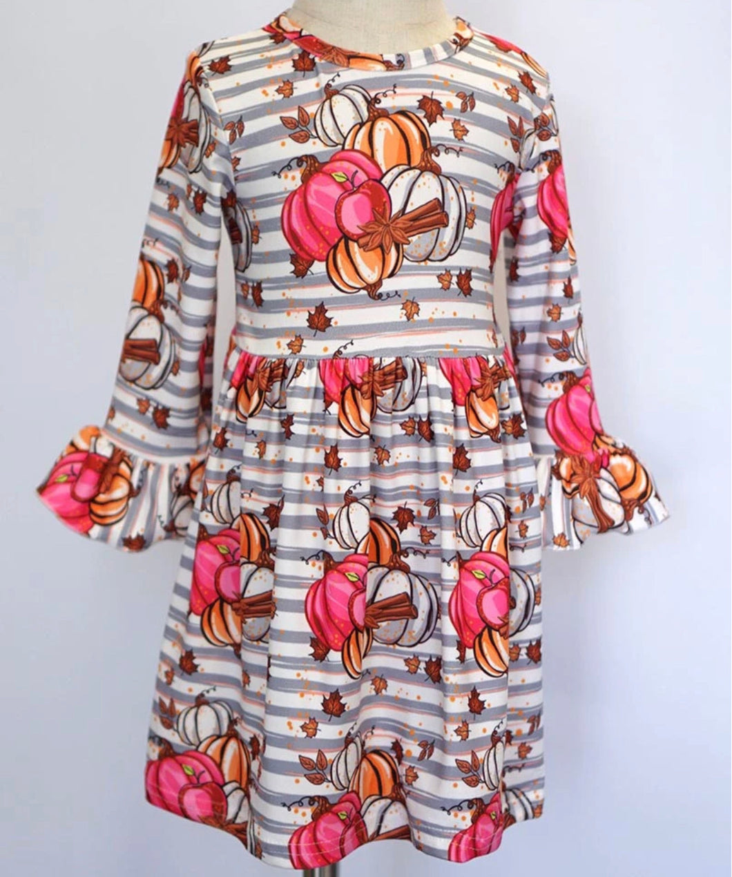 Pumpkin Stripe Bell Sleeve Dress