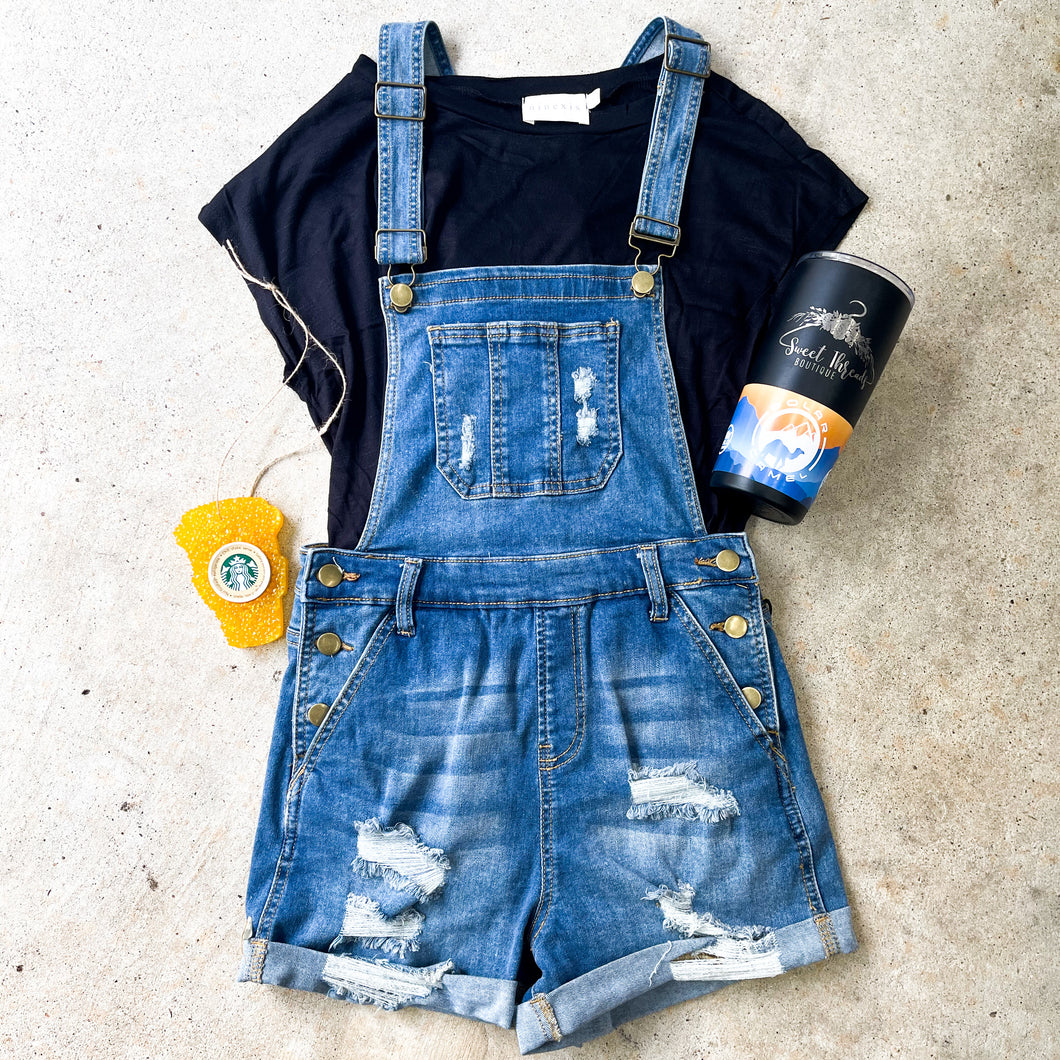 Distressed Denim Overall - WOMENS